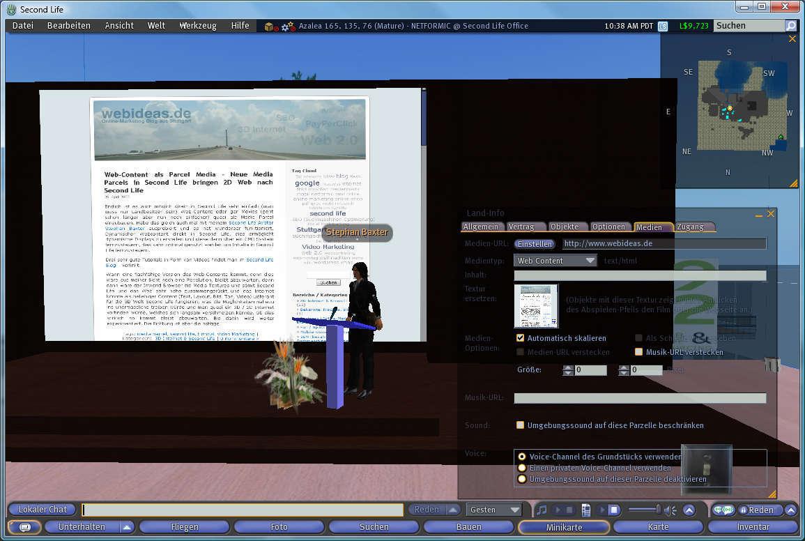 Web-Content als Media Parcel in Second Life